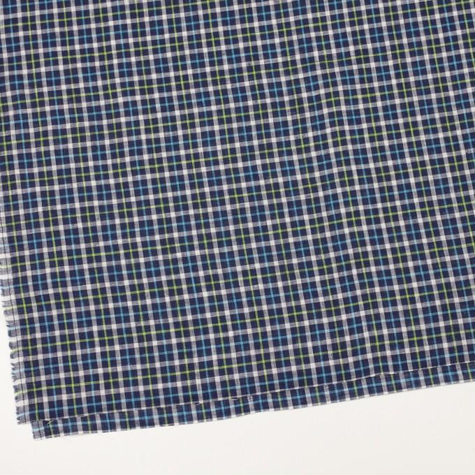 リネン×チェック(ネイビー、サックス&イエローグリーン)×薄キャンバス_イタリア製 イメージ2