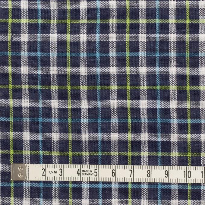 リネン×チェック(ネイビー、サックス&イエローグリーン)×薄キャンバス_イタリア製 イメージ4