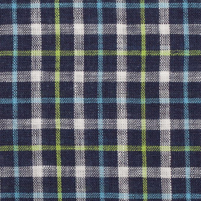 リネン×チェック(ネイビー、サックス&イエローグリーン)×薄キャンバス_イタリア製 イメージ1