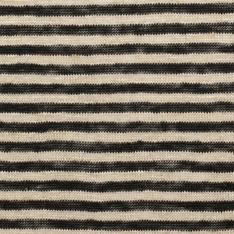リネン×ボーダー(グレイッシュベージュ&ブラック)×天竺ニット_全2色 サムネイル1