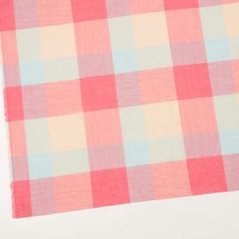 コットン&リネン混×チェック(サーモンピンク&シトロン)×ボイル_全2色 サムネイル2