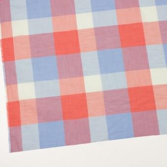 コットン&リネン混×チェック(スカーレット&サックス)×ボイル_全2色 サムネイル2