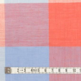 コットン&リネン混×チェック(スカーレット&サックス)×ボイル_全2色 サムネイル4