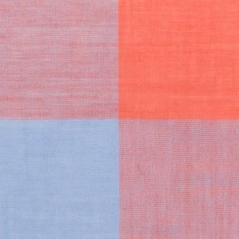 コットン&リネン混×チェック(スカーレット&サックス)×ボイル_全2色 サムネイル1