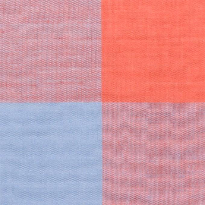 コットン&リネン混×チェック(スカーレット&サックス)×ボイル_全2色 イメージ1