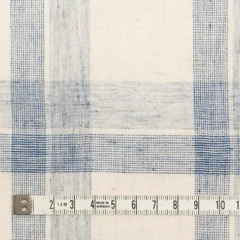 コットン&リネン混×チェック(キナリ&ブルーグレー)×シーチング サムネイル4