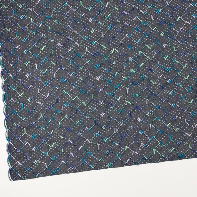 コットン×幾何学模様(ネイビー)×ボイル刺繍 イメージ2