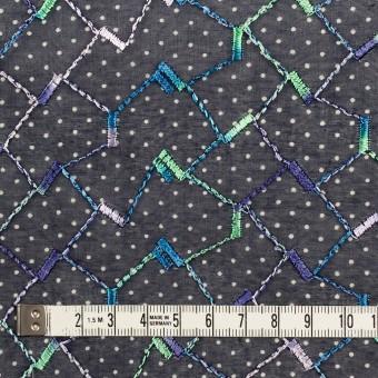 コットン×幾何学模様(ネイビー)×ボイル刺繍 サムネイル4