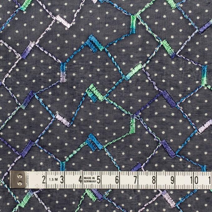コットン×幾何学模様(ネイビー)×ボイル刺繍 イメージ4
