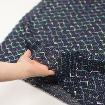 コットン×幾何学模様(ネイビー)×ボイル刺繍 サムネイル5