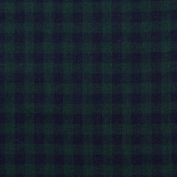 コットン×チェック(モスグリーン&ネイビー)×Wガーゼ イメージ1