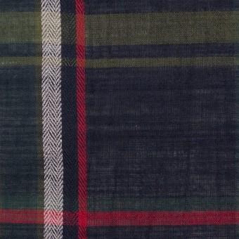コットン×チェック(ダークネイビー、カーキグリーン&レッド)×ボイルワッシャー サムネイル1