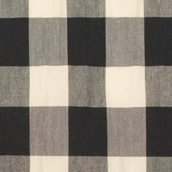 コットン&ナイロン×チェック(キナリ&ブラック)×高密ブロードワッシャー サムネイル1