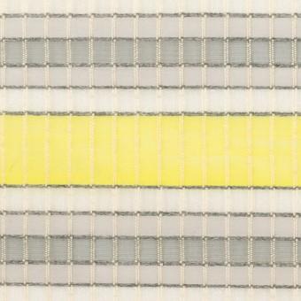 ナイロン&コットン×ボーダー(イエロー&グレー)×オーガンジー・ジャガード_全2色 サムネイル1