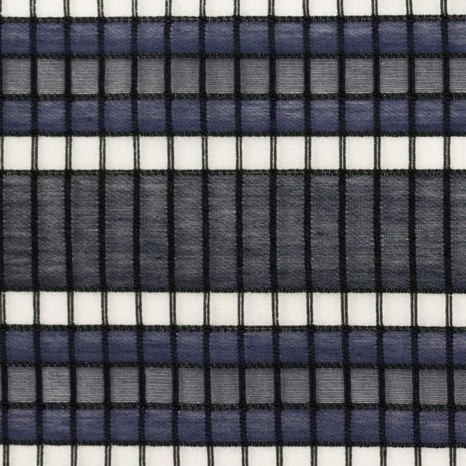 ナイロン&コットン×ボーダー(ネイビー&ダークネイビー)×オーガンジー・ジャガード_全2色 イメージ1