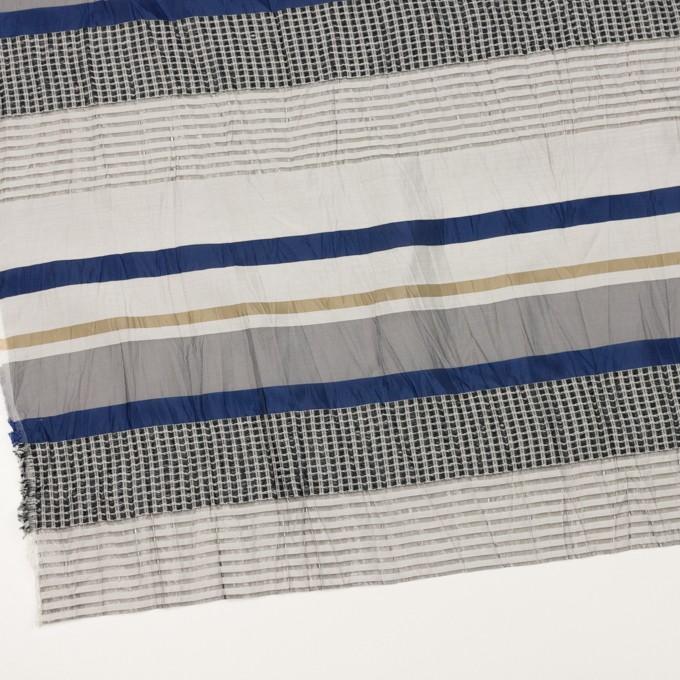 コットン&ナイロン混×ボーダー(ゴールド、ネイビー&ライトグレー)×ジャガードワッシャー_全2色 イメージ2