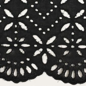 コットン×ボーダー(ブラック)×ローン刺繍No2_全4色 サムネイル1