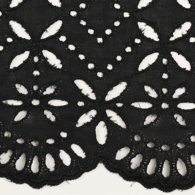 コットン×ボーダー(ブラック)×ローン刺繍No2_全4色 イメージ1