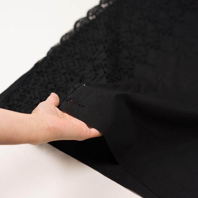 コットン×ボーダー(ブラック)×ローン刺繍No2_全4色 イメージ5