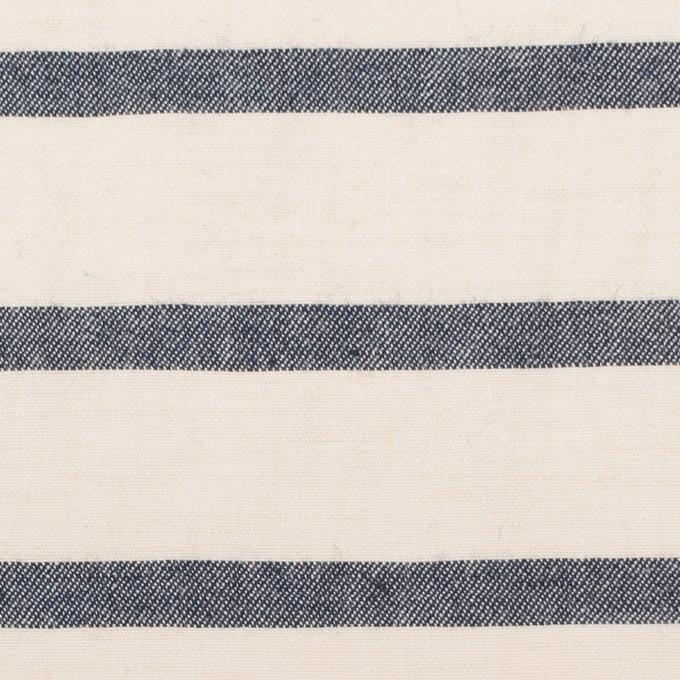 コットン&リネン×ボーダー(キナリ&ネイビー)×サージワッシャー イメージ1