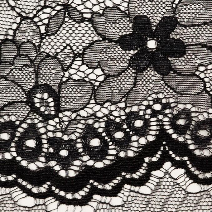 ナイロン&ポリエステル×フラワー(ブラック)×ラッセルレース_全3色 イメージ1
