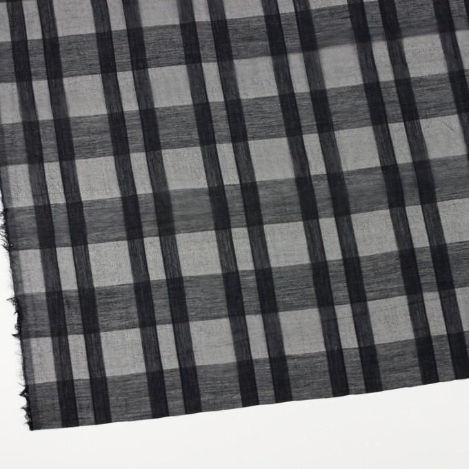 シルク&コットン×チェック(ブラック)×オーガンジー イメージ2