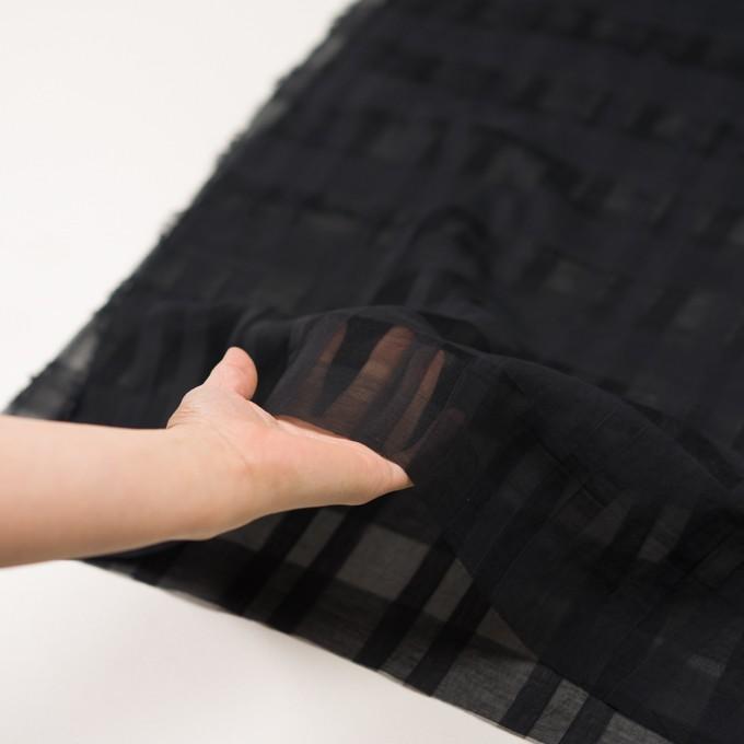 シルク&コットン×チェック(ブラック)×オーガンジー イメージ5