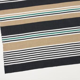 リネン&ナイロン×ボーダー(オークル、ブラック&モスグリーン)×ポプリンワッシャー サムネイル2
