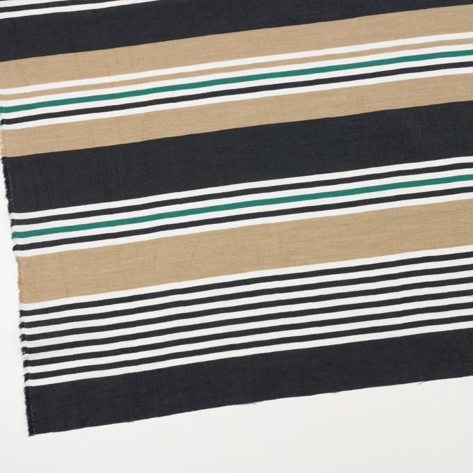 リネン&ナイロン×ボーダー(オークル、ブラック&モスグリーン)×ポプリンワッシャー イメージ2
