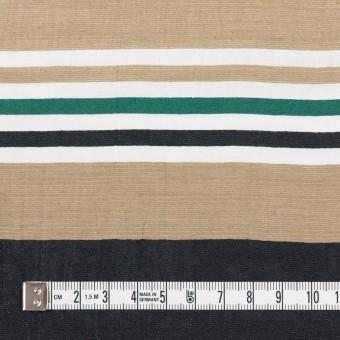 リネン&ナイロン×ボーダー(オークル、ブラック&モスグリーン)×ポプリンワッシャー サムネイル4
