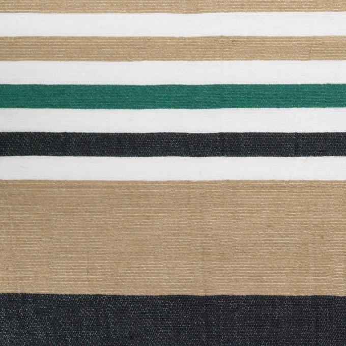 リネン&ナイロン×ボーダー(オークル、ブラック&モスグリーン)×ポプリンワッシャー イメージ1