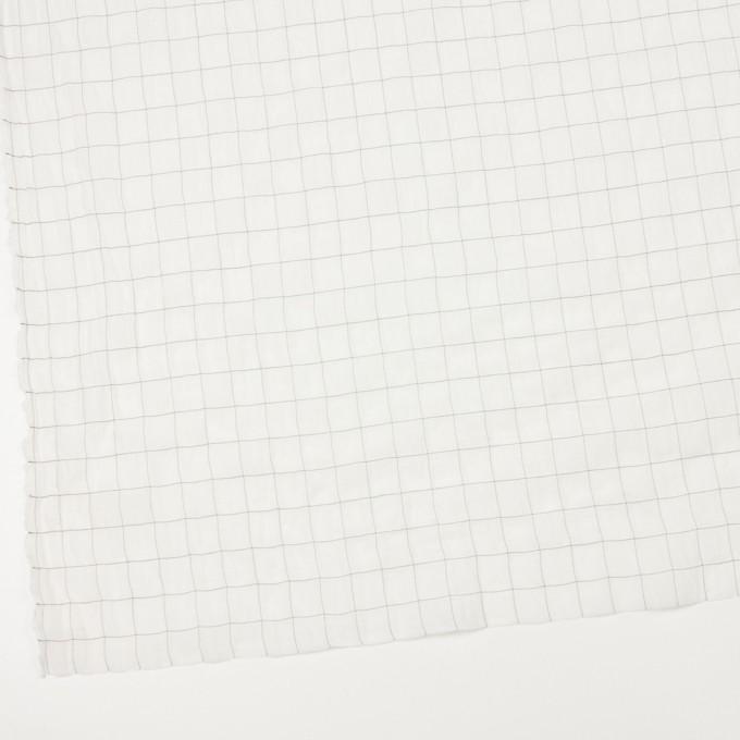 コットン&シルク混×チェック(オフホワイト&ブラック)×オーガンジー・ワッシャー_全4色 イメージ2