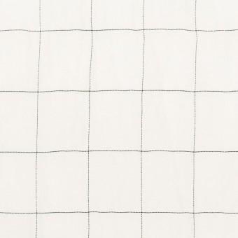 コットン&シルク混×チェック(オフホワイト&ブラック)×オーガンジー・ワッシャー_全4色 サムネイル1