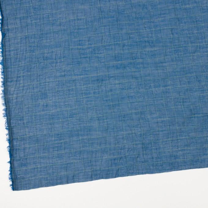 コットン&シルク混×チェック(アイアンブルー&ライムグリーン)×オーガンジー・ワッシャー_全4色 イメージ2