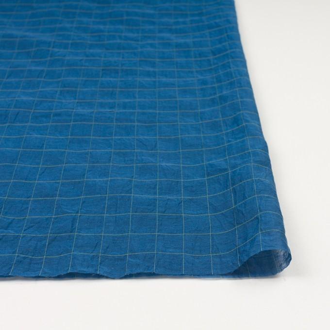 コットン&シルク混×チェック(アイアンブルー&ライムグリーン)×オーガンジー・ワッシャー_全4色 イメージ3