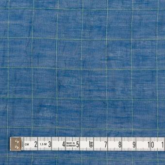 コットン&シルク混×チェック(アイアンブルー&ライムグリーン)×オーガンジー・ワッシャー_全4色 サムネイル4