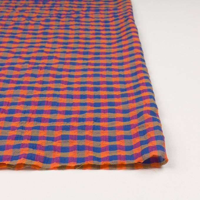 コットン&ポリウレタン×チェック(オレンジ&ブルー)×ボイルシャーリング_全3色 イメージ3
