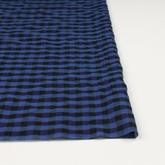 コットン&ポリウレタン×チェック(ブルー&ネイビー)×ボイルシャーリング_全3色 サムネイル3