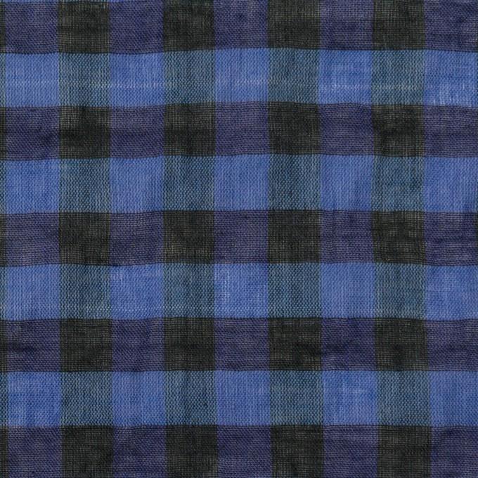 コットン&ポリウレタン×チェック(ブルー&ネイビー)×ボイルシャーリング_全3色 イメージ1