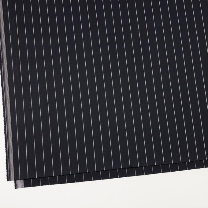 コットン&ポリウレタン×ストライプ(ブラック)×サージストレッチ イメージ2