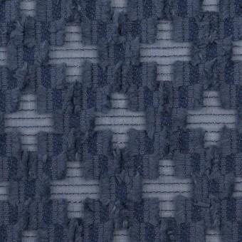 コットン&ナイロン×幾何学模様(アッシュネイビー)×オーガンジー・カットジャガード サムネイル1