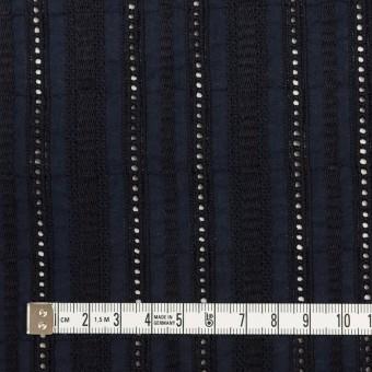 コットン×ストライプ(ダークネイビー)×ローン刺繍 サムネイル4