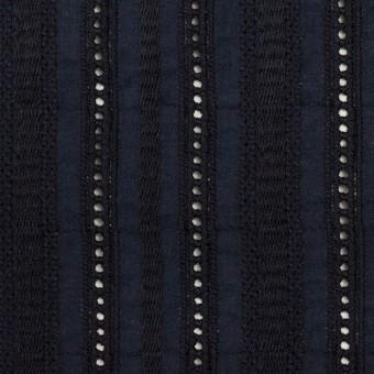 コットン×ストライプ(ダークネイビー)×ローン刺繍 サムネイル1
