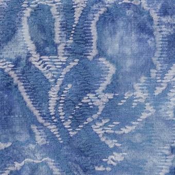 コットン&レーヨン混×フラワー(アッシュブルー)×ガーゼ・カットジャガード サムネイル1