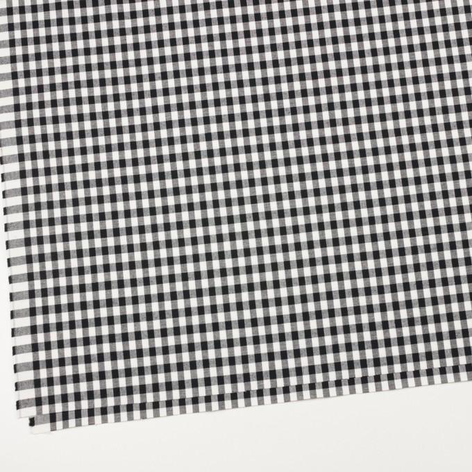 コットン&ポリウレタン×チェック(ブラック)×ポプリンストレッチ イメージ2