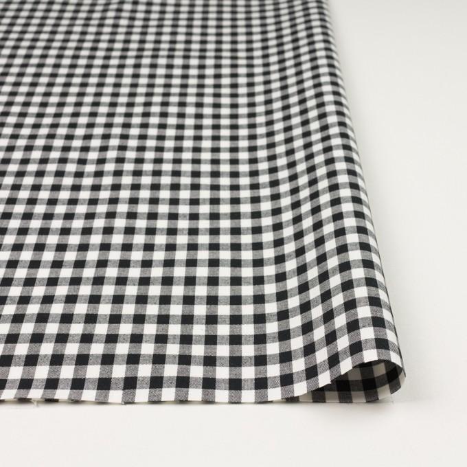 コットン&ポリウレタン×チェック(ブラック)×ポプリンストレッチ イメージ3