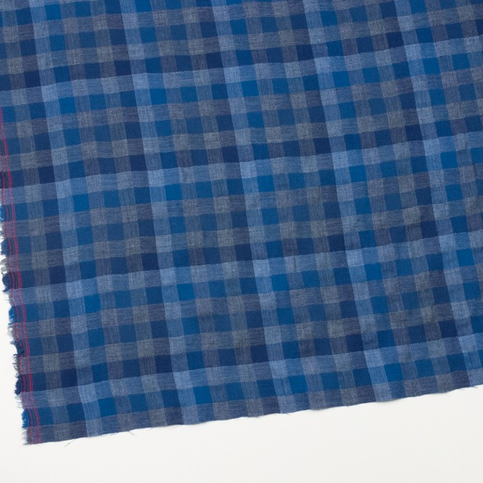 コットン×チェック(ブルー&グレー)×Wガーゼ イメージ2