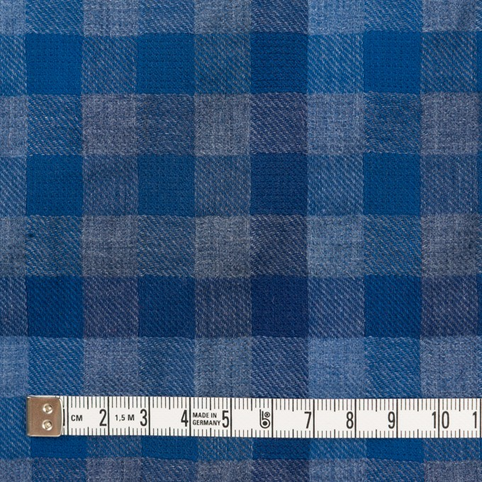 コットン×チェック(ブルー&グレー)×Wガーゼ イメージ4