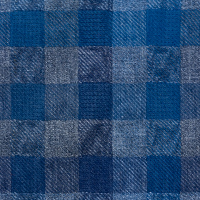コットン×チェック(ブルー&グレー)×Wガーゼ イメージ1