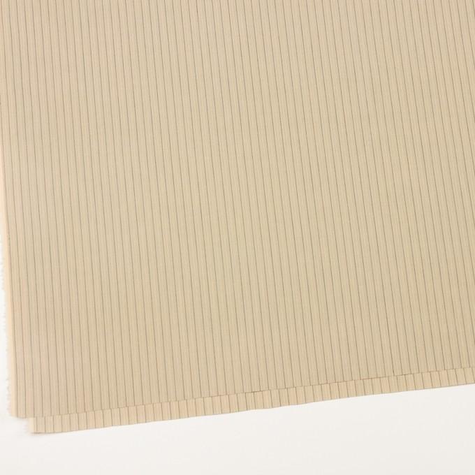 コットン×ストライプ(キナリ、カーキ&ブラック)×かわり織 イメージ2